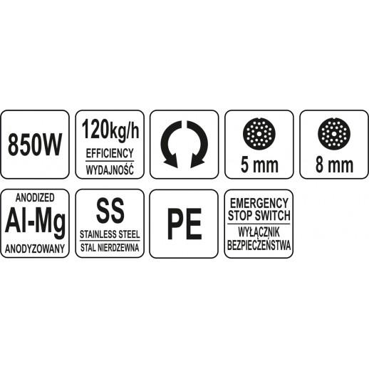 MASINA PENTRU TOCAT CARNE, 850W, 120KG/H